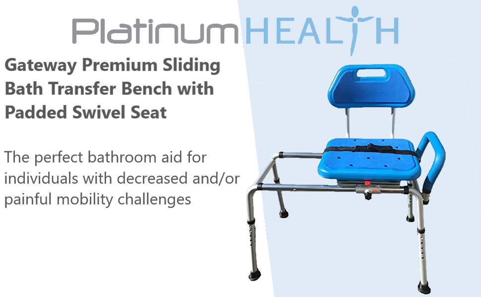 Magnificent Gateway Premium Sliding Bath Transfer Bench With Swivel Seat Padded Blue Onthecornerstone Fun Painted Chair Ideas Images Onthecornerstoneorg