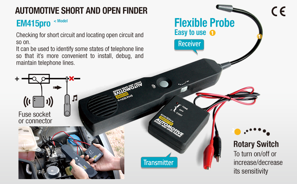 allsun Pro Automotive Short and Open Finder Circuit Tester Wire Tracker  Circuit Finder DC 6-42 V Short Circuit Detector Short Detector tool Power