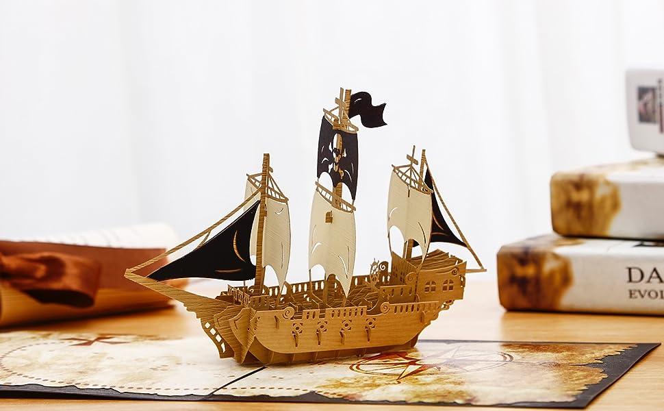 Amazon.com: liif piratas Ahoy Pop Up Tarjeta, tarjeta de 3d ...