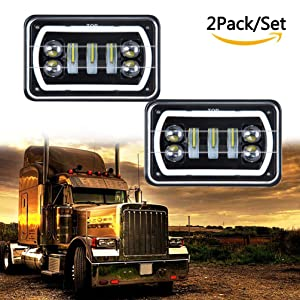 ROCCS PAIR 4x6 led Headlights with White/Amber Halo Sealed Beam For Trucks  Chevrolet Ford Freightliner Peterbil Kenworth Toyota Pick-up 4