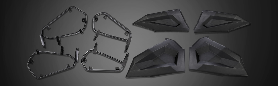 rzr door panels with metal frame