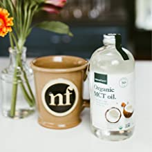 natural force organic mct oil can be blended into coffee for a non dairy creamer
