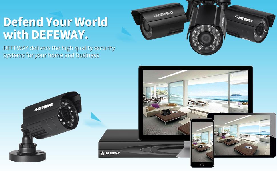 Amazon.com : DEFEWAY 4ch HD DVR 720P Home Surveillance System With ...