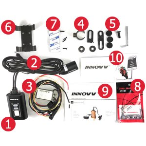 INNC5CB18 Capacitor Version INNOVV C5 Black Camera with 1.8 Meter Cable