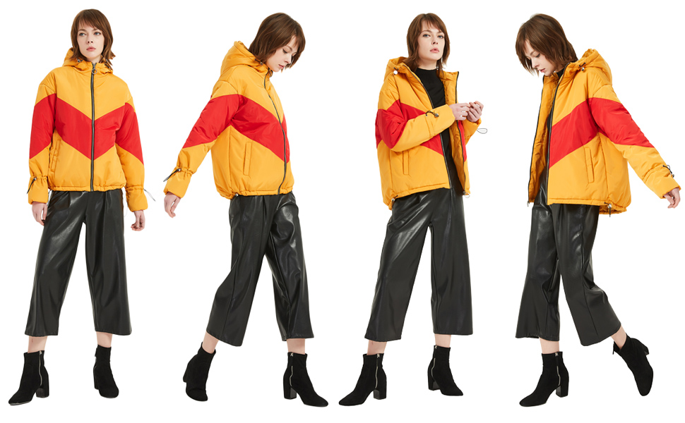 e61cb83014a SUNDAY ROSE Orange Puffer Jacket Women Fashion Padded Quilted Jacket with  Hood