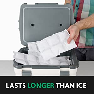 Person putting ice packs in a small cooler; text: lasts longer than ice