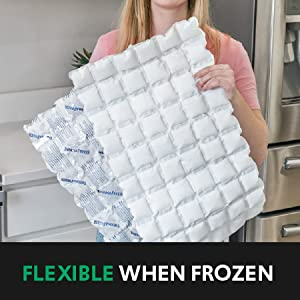 Woman folding a large sheet of ThermaFreeze in half; text: flexible when frozen
