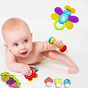 Rattle Teether Set Baby Toy 9pcs Rattle Teether Newborn Toys ZE