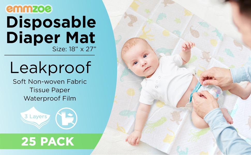 emmzoe disposable leakproof non woven waterproof baby child unisex boy girl diaper mat 25 pack
