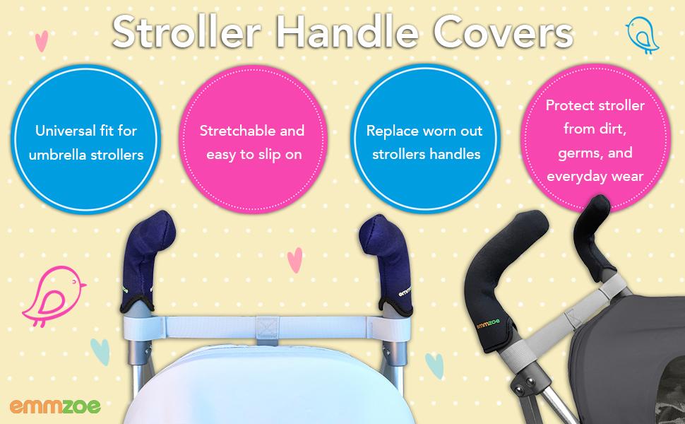 90957652ec00 Emmzoe Stroller Handle Covers for Umbrella Type Stroller Models -  Stretchable Universal Fit (Black)