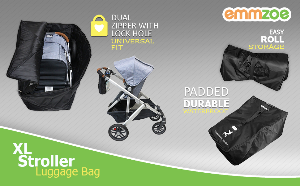 3d0eadc0e57e Emmzoe XL Stroller Padded Luggage Check-in Travel Bag Case, Durable,  Waterproof, Easy Roll for Storage