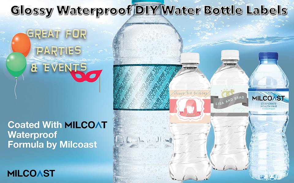 "Milcoast Glossy Waterproof DIY Water Bottle Labels 8 5"" x 2"" for  Inkjet/Laser Printers - 125 Labels (25 Sheets)"