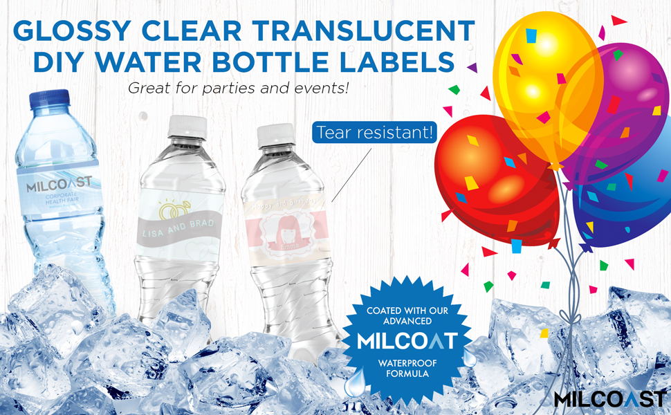 Amazon Com Milcoast Glossy Clear Translucent Waterproof Tear Resistant Water Bottle Labels 8 5 X 2 For Inkjet Laser Printers 125 Labels 25 Sheets Office Products