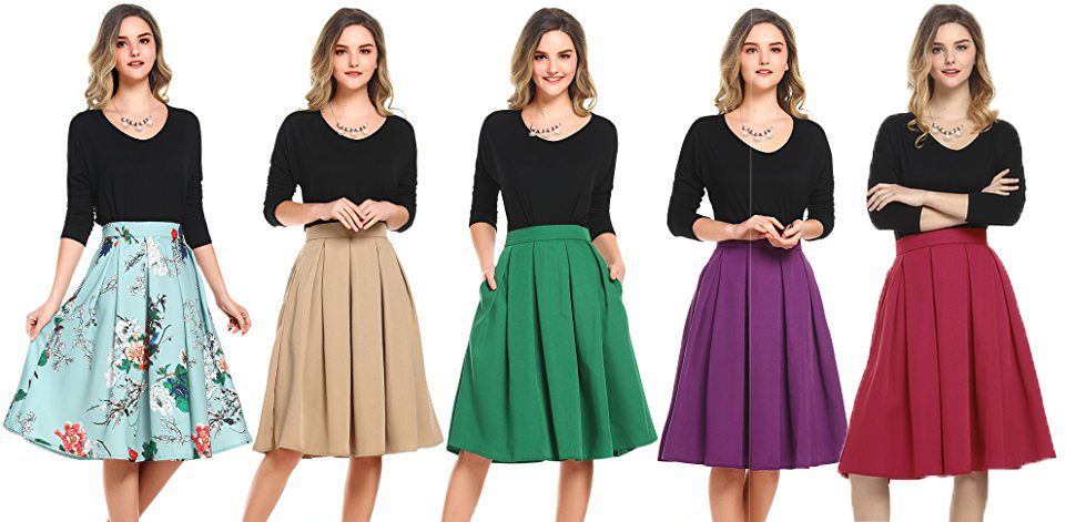 dae4619368297f Style 1 - Beluring Womens High Waist A-Line Skater Skirt with Pockets (No  Elastic Waist)