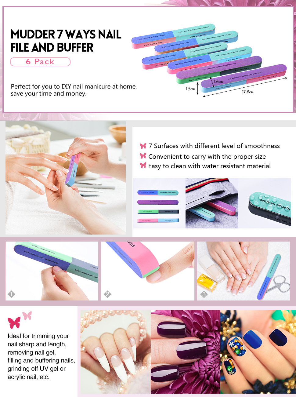 Amazon.com : Mudder 6 Pack Nail File and Nail Buffer Cosmetic ...
