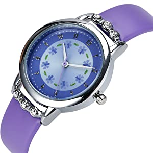 Dovoda girl watches easy reader time teacher flowers diamond purple leather band for Dovoda watches