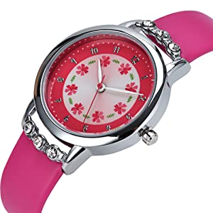 Dovoda girls watches easy reader time teacher flowers diamond rose red leather strap for Dovoda watches
