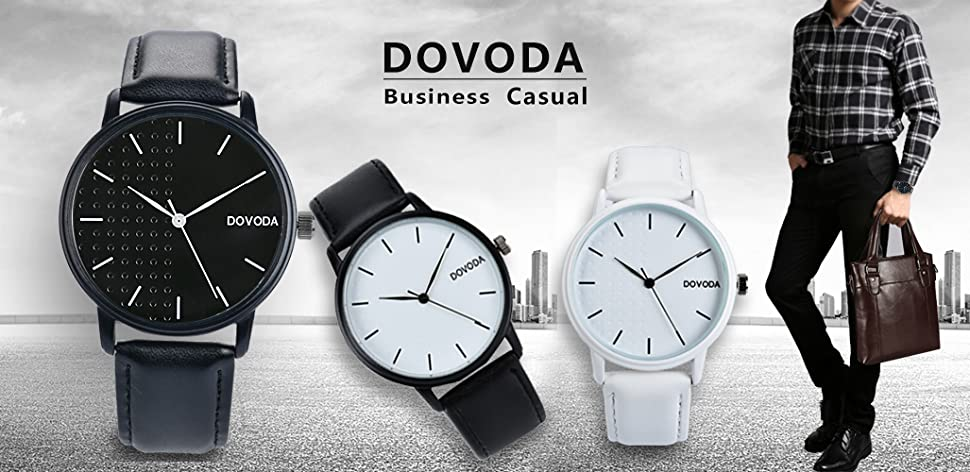 Dovoda watches for men casual classy quartz analog leather watch easy to read time for Dovoda watches