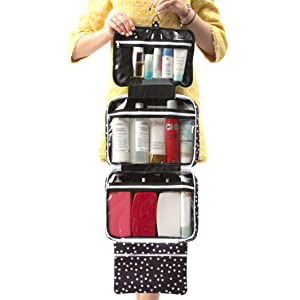 Large Travel Cosmetic Bag For Women - Hanging Travel Toiletry And Makeup Bag With Many Pockets in Polka Dot