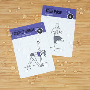 yoga cards are water proof & sweat proof durable plastic cards