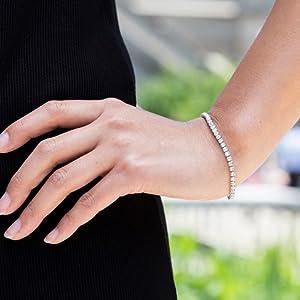 Tennis Bracelet Swarovski Crystal Diamond Silver Gold Gift Women Christmas Rose Simple Cute Fancy