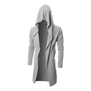 baac3473ca GIVON Mens Long Sleeve Draped Lightweight Open Front Longline Hooded  Cardigan With Pockets