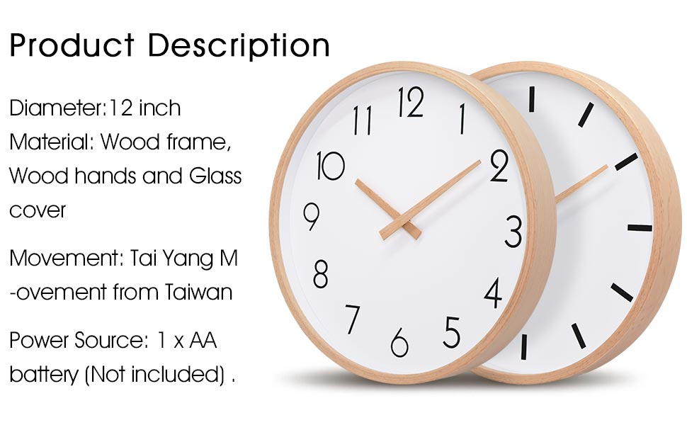 Amazon Com Txl Wall Clock Wood 12 Silent Large Wood Wall Clocks Analog Digital Wall Clock Non Ticking For Kitchen Bedroom Living Room Classroom Office Vintage Home Decor 1 Kitchen Dining