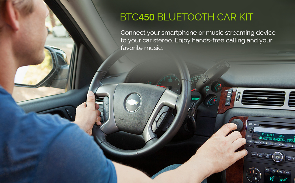 Kinivo BTC450 Bluetooth Car Kit (Hands-Free Adapter for Cars with 3 5mm Aux  Input, Apt-X)