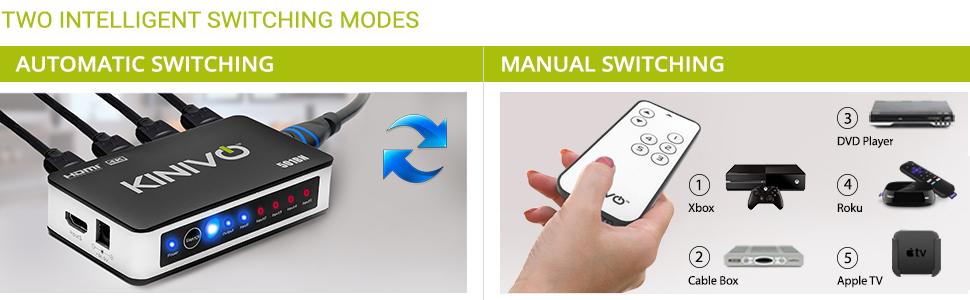 Kinivo 5 port hdmi switch 3 port remote hdmi switch with remote hdmi selector switch hdmi switcher