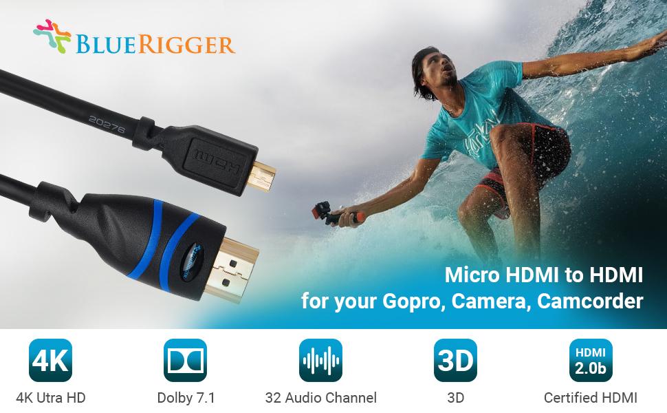 AINAP I-Neck HDMI to HDMI Micro Conversion Cable AINEX AMC-UHD 15 cm