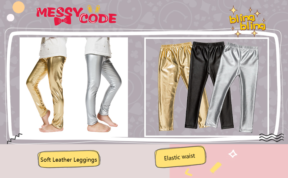 c919a07a9ee0 Amazon.com  Messy Code Baby Girls Pants Faux Leather Leggings for ...