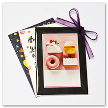 black mat fit on photo print. and card with ribbon. made for gift
