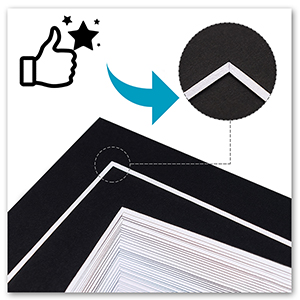 good quality black mat with bevel cut white core and acid free