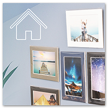 color mats with photo prints on home walls decor