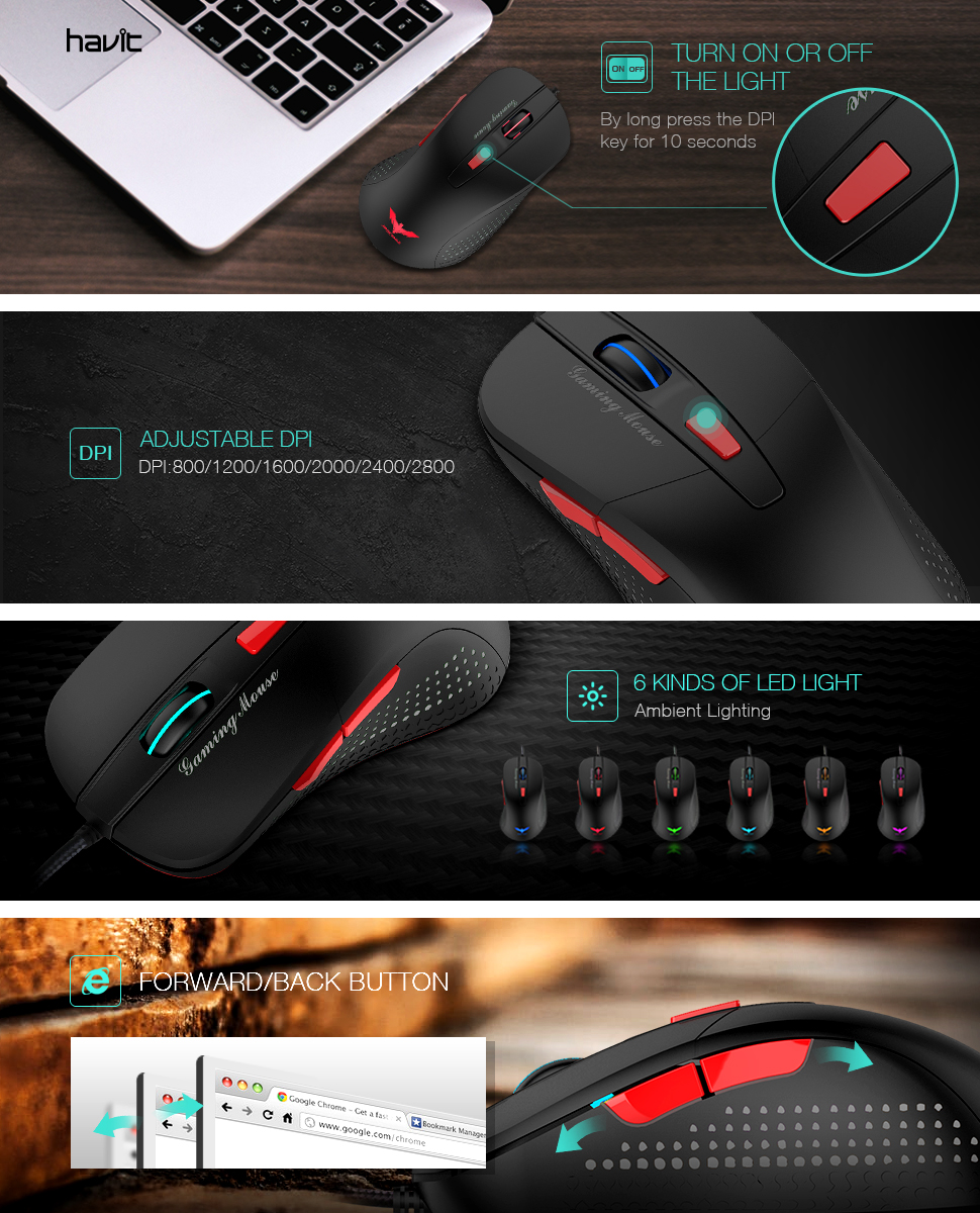 1.8m Color : White, Size : One Size Length USB 6-Keys 2400DPI Four-Speed Adjustable Backlight Wired Optical Gaming Mouse