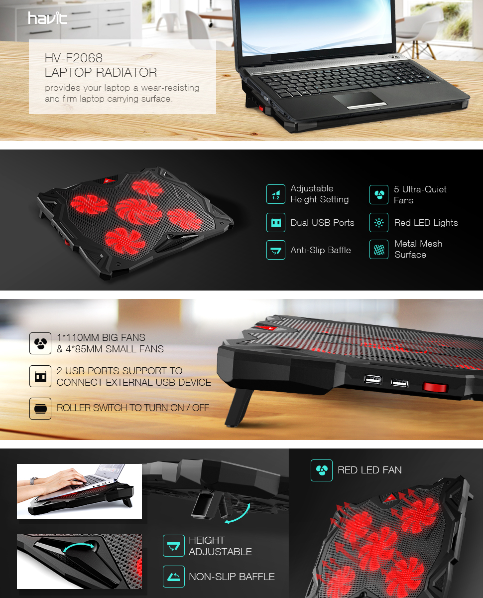 Havit 5 Fans Laptop Cooling Pad For 14 17 Inch Fan Cooler Hv F2068 Chill Mat With Quiet Dual Usb 20 Ports And Adjustable Height