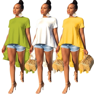 Kearia Women High Low Hem Shirt Dress Crewneck Short Sleeves Asymmetrical Casual Tops Blouse Shirt Dresses At Amazon Women S Clothing Store
