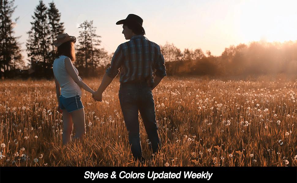 4396019e21d85 Enimay Western Outback Cowboy Hat Men s Women s Style Straw Felt ...