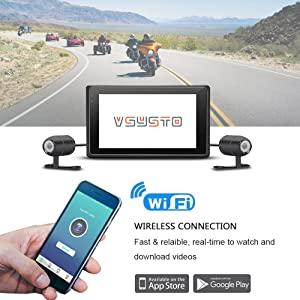 VSYSTO Motorcycle Dash Cam WiFi Support Full Body Waterproof with Dual Separated Lens Front Full HD 1080P Sony IMX323 and Rear View 720P Camera Recorder Use as Sport Action Camera 2.0 inch LCD V-SYS Technology