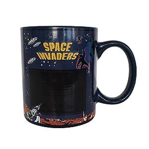 space invaders, atari, mug, coffee, tea, cup, coca, man, woman, teen
