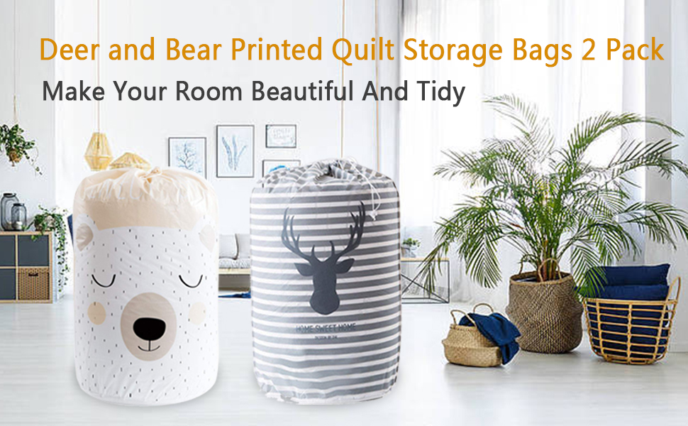 Deer and Bear Printed Quilt Storage Bags 2 Pack