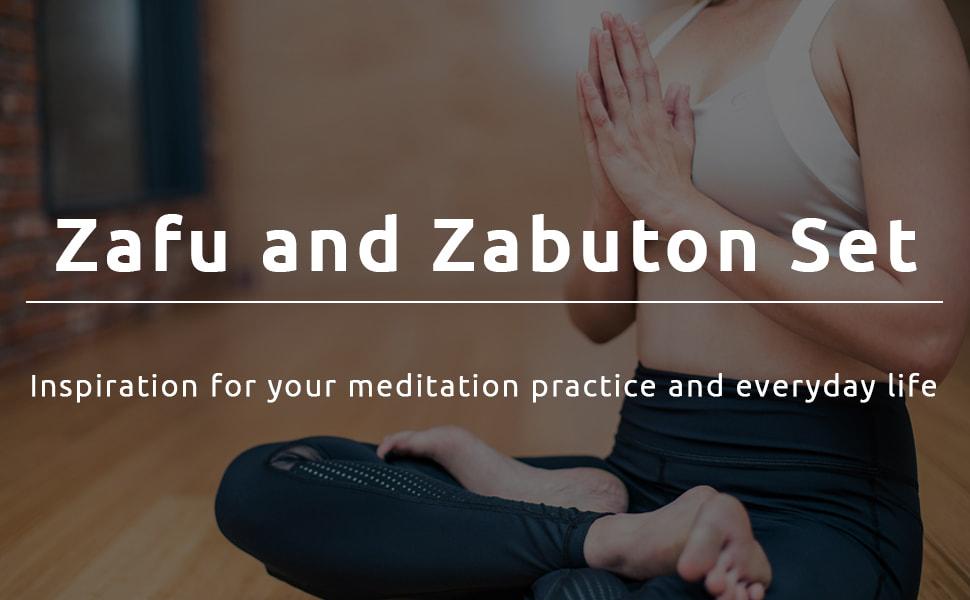 JOYBASE Zafu and Zabuton Meditation Cushion Set - Yoga, Meditation Seat Cushion - Coconut Fibre Linen Seat