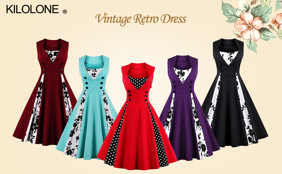 KILOLONE Womens 1950 Plus Size Dress Christmas Party Retro Vintage ...