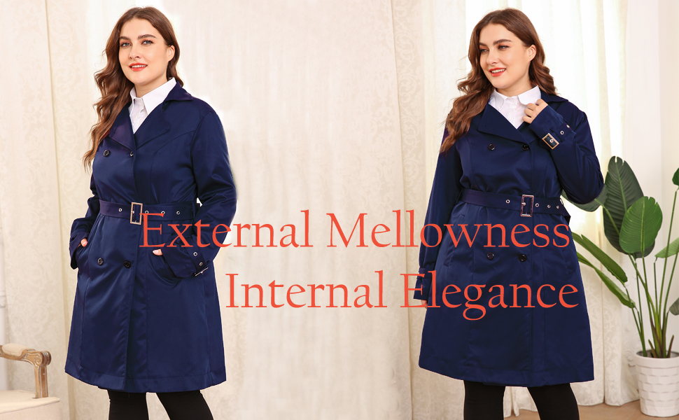 INVOLAND Womens Plus Size Trench Coat Double Breasted Long Trench Coats with Belt