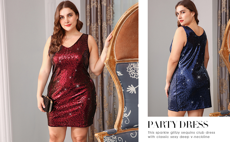 6a0cb6a11c2 Women s Plus Size Glitter Bodycon Sequin Cocktail Party Club Evening Mini  Dress