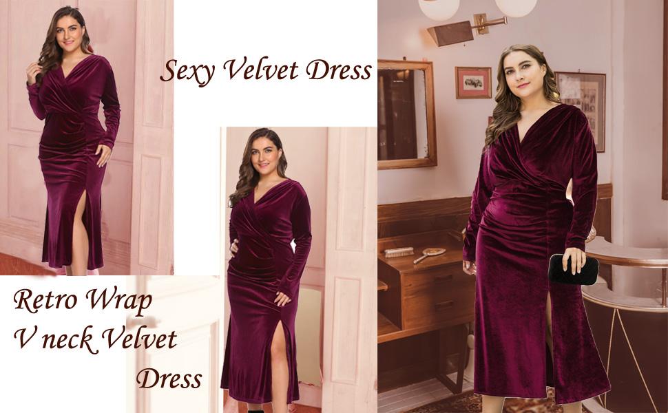 0290d54aba Women s Plus Size Retro 1950s V-Neck Wrap Velvet Split Hem Elegant ...