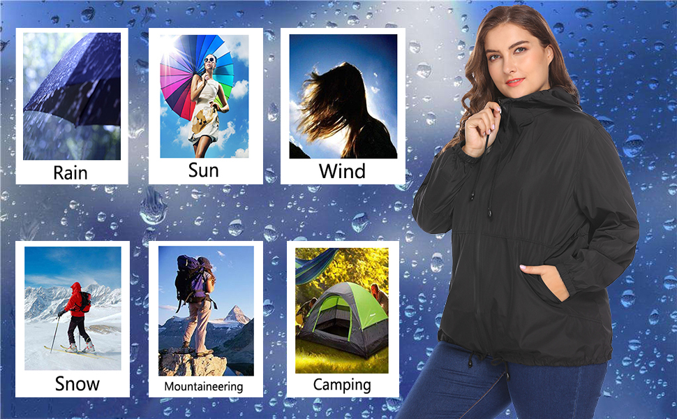 dd5afcf4150 In voland Women s Plus Size Raincoat and Windbreaker is made of good  quality coated fabric which can effectively prevent from the rain and wind.