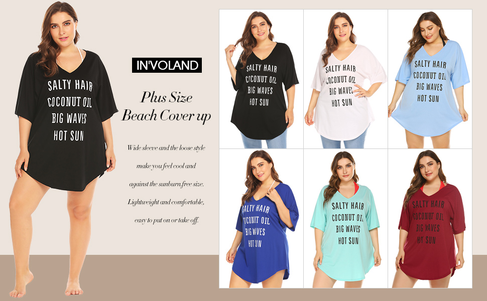 357001337ac IN'VOLAND Women Plus Size Swimwear Baggy T-Shirts V Neck Letters ...