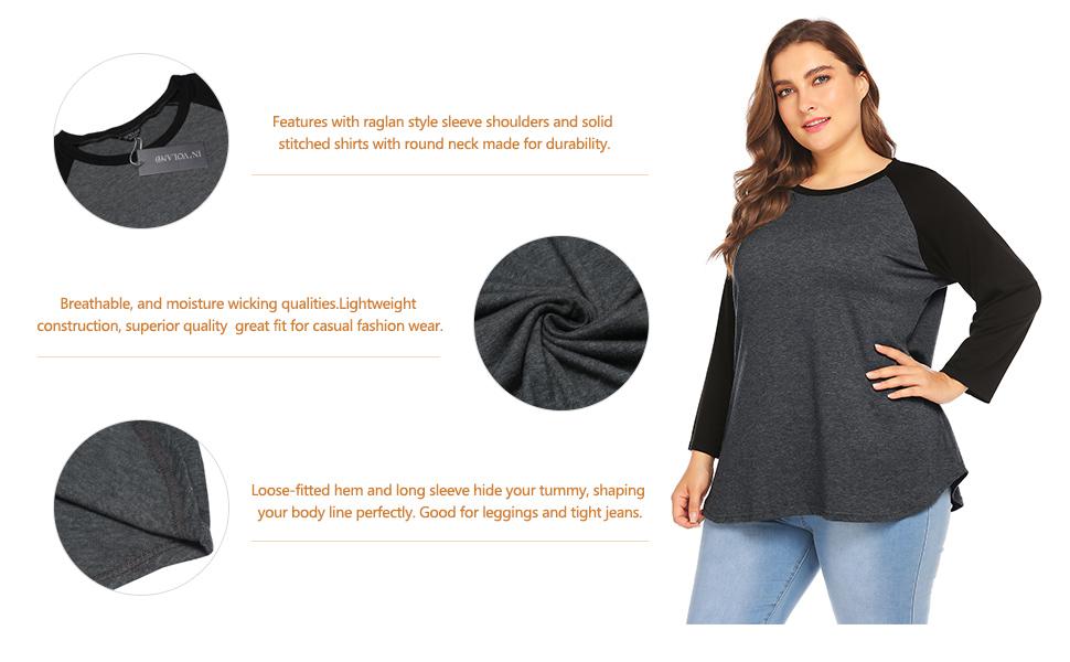 Women's Raglan Long Sleeve Shirts Casual Blouses Baseball Tshirts Top