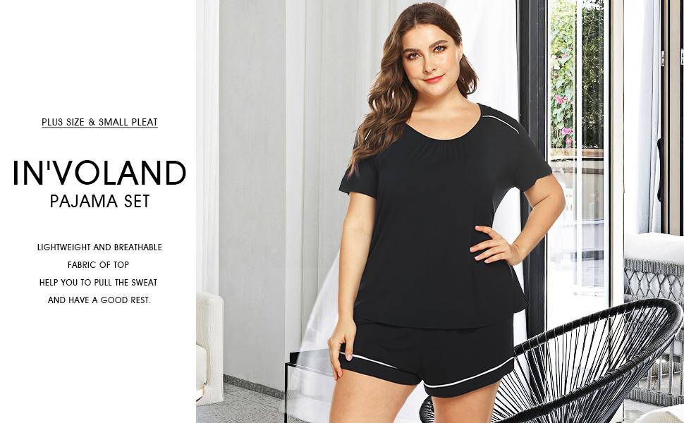 fa2ea27591 IN VOLAND Women s Plus Size Shorts Pajama Set Short Sleeve Sleepwear ...